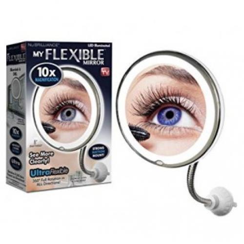 Настенное зеркало с 5ти кратным увеличением и подсветкой на присоске Ultra flexible mirror