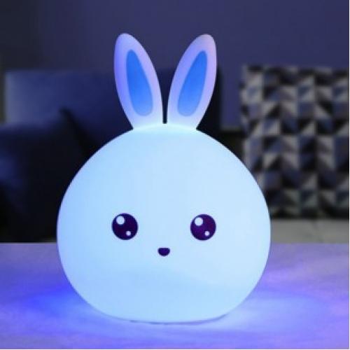 Детский силиконовый LED ночник Зайка 12см
