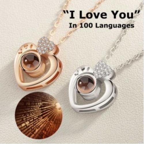 Кулон i love you на 100 языках сердечко