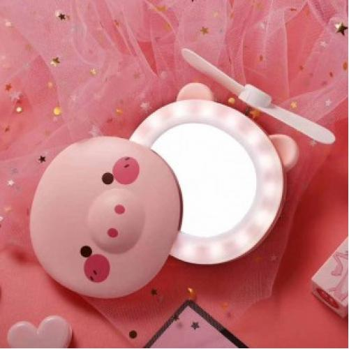 Светодиодное зеркало с вентилятором Свинка