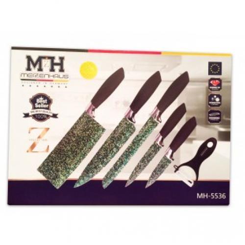 Набор из 6 ножей Meizenhaus MH-5536 из малахита
