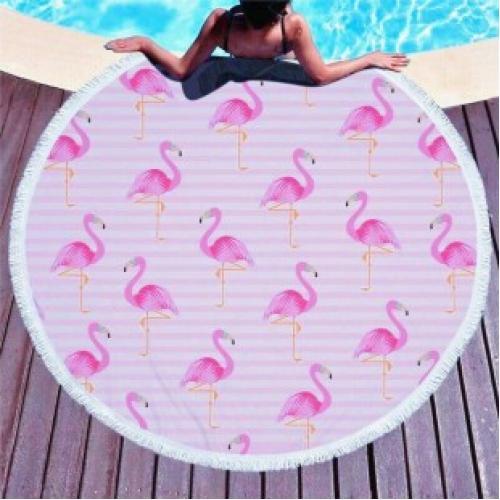 Пляжное покрывало розовый фламинго
