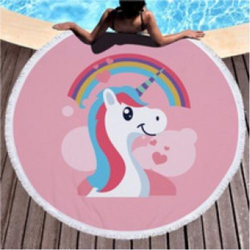 Пляжное полотенце покрывало Единорог с радугой