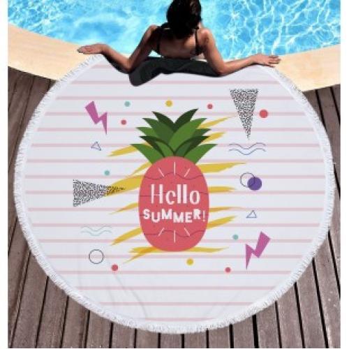 Пляжное полотенце покрывало Ананас Hello summer