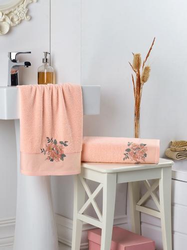 Комплект махровых полотенец с вышивкой FLORYA 50x90-70х140 см