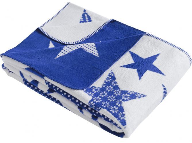 "Плед KARNA хлопок ""STARS"" 130x170 см (голубой)"