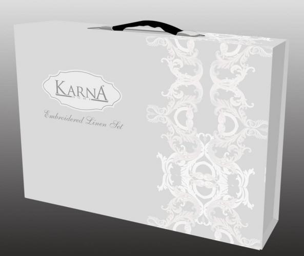 """Постельное белье сатин с вышивкой """"VALENCIA"""" 300.TC (Евро) Светло-лаванда"""