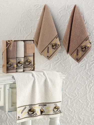 Кухонные полотенца махровые жаккард COFFE CUP 30x50 см 1/3