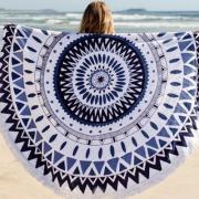 Пляжное покрывало полотенце с синим узором