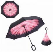 Зонт наоборот Розовый цветок