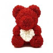 Мишка из роз в подарочной упаковке красный
