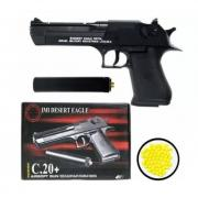Пистолет игрушечный Air Soft Gun C20+ Desert Eagle с глушителем